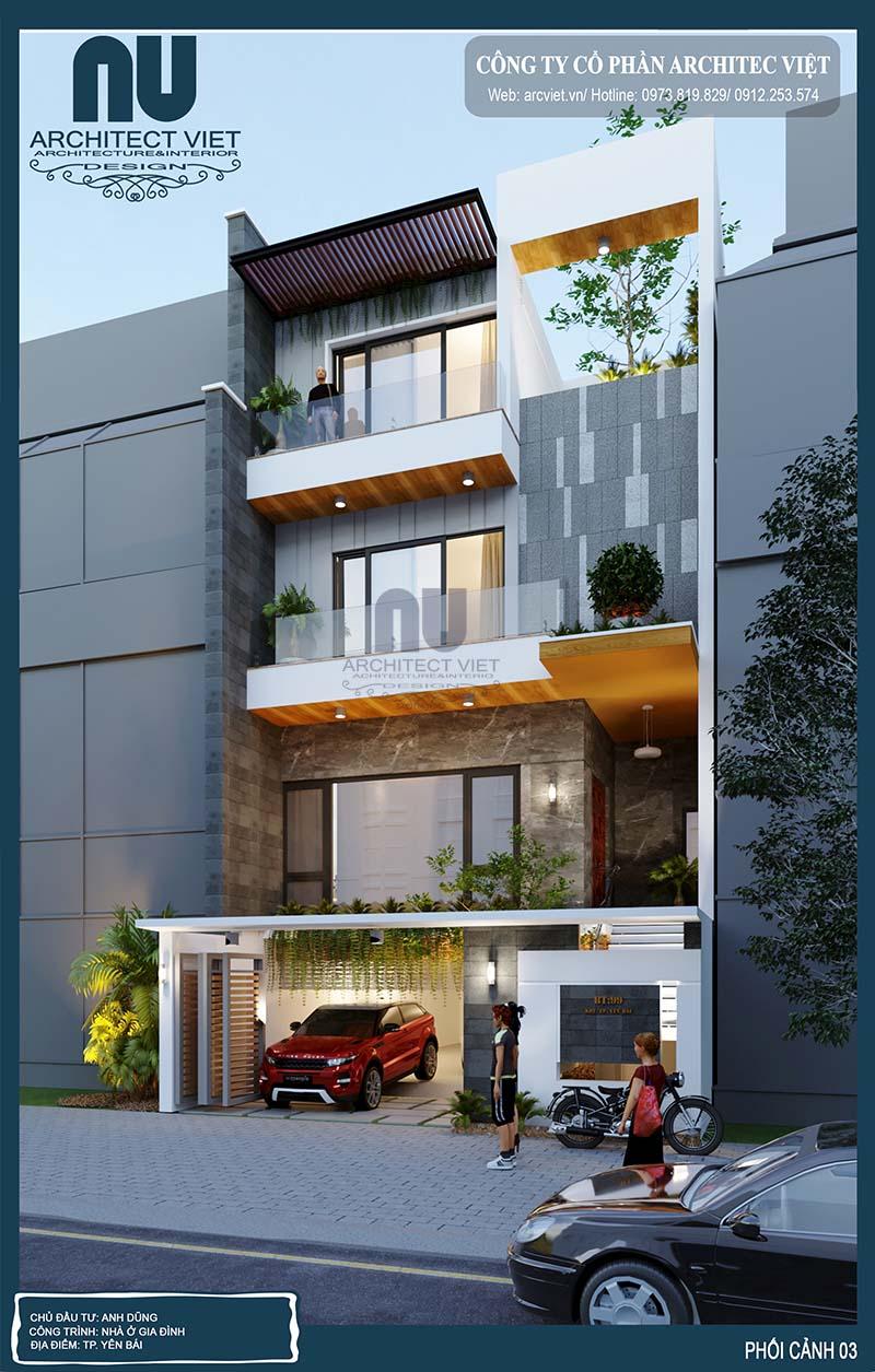 hình ảnh góc chéo nhà phố hiện đại 4 tầng 8x20m