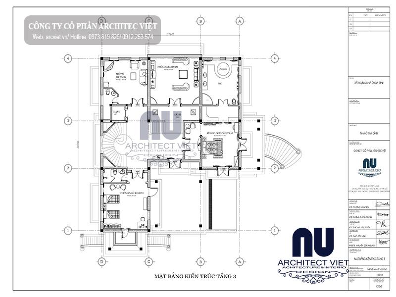 bố trí công năng tầng 3 biệt thự 3 tầng cổ điển 364m2
