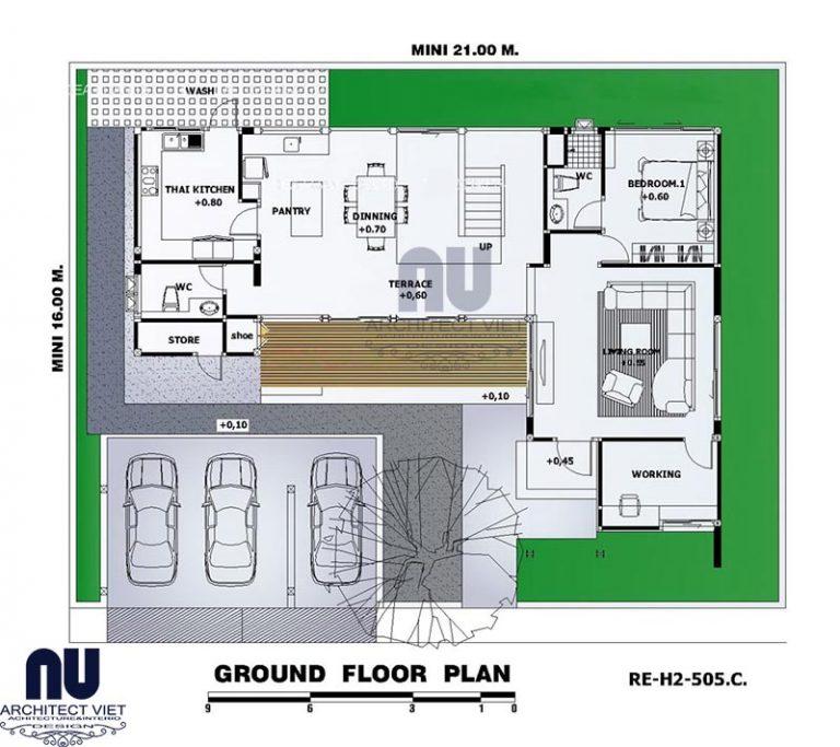 Công năng tầng 2 biệt thự 4 phòng ngủ hiện đại 350m2