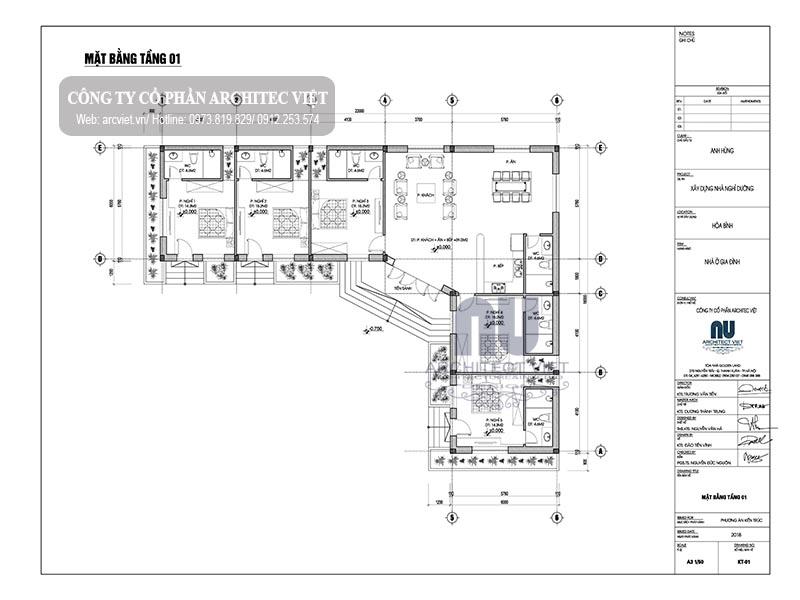 Bố trí công năng biệt thự nghỉ dưỡng 1 tầng 350m2