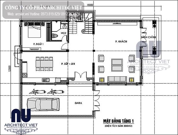 Tầng 1 biệt thự mái thái 2 tầng 200m2