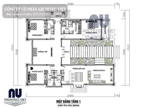 Mặt bằng biệt thự sân vườn mái thái 1 tầng 3 phòng ngủ 300m2