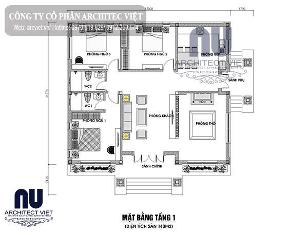 Mặt bằng biệt thự 1 tầng 3 phòng ngủ mái thái