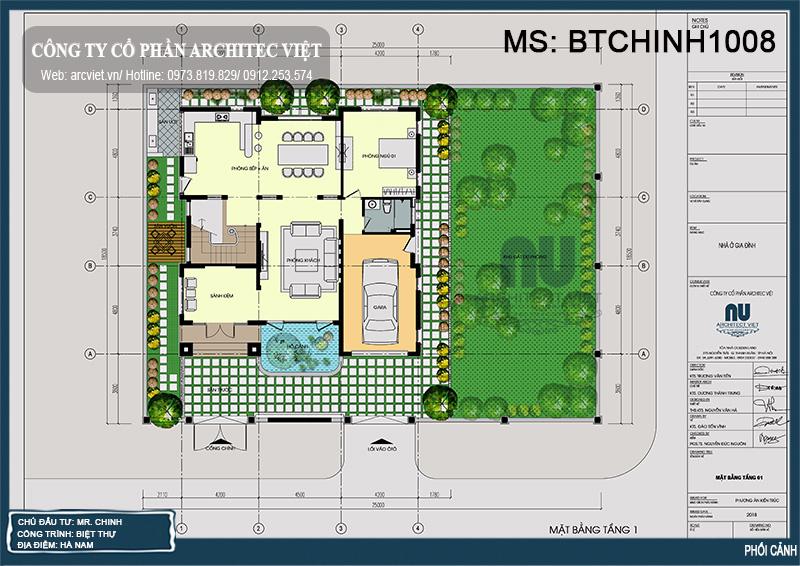 bố trí công năng tầng 1 biệt thự mái thái 3 tầng 460m2