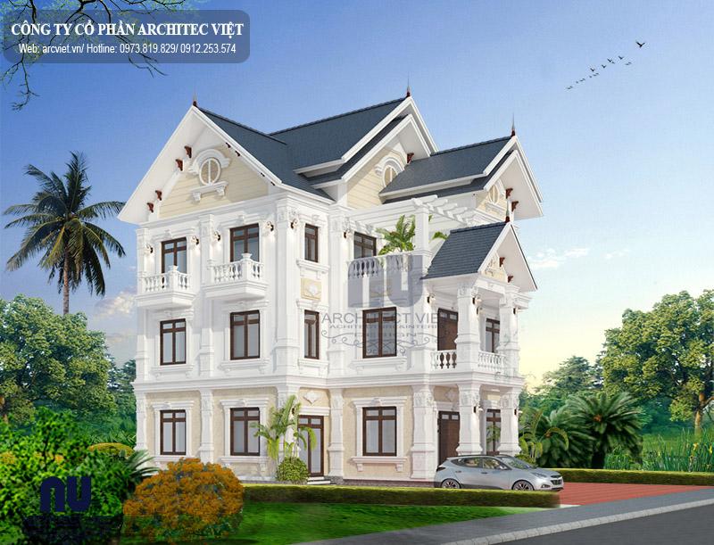thiết kế biệt thự vườn 3 tầng mái thái 150m2 đẹp