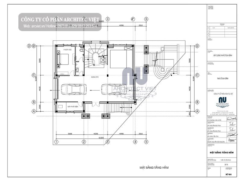 công năng tầng hầm biệt thự 3 tầng 4 phòng ngủ