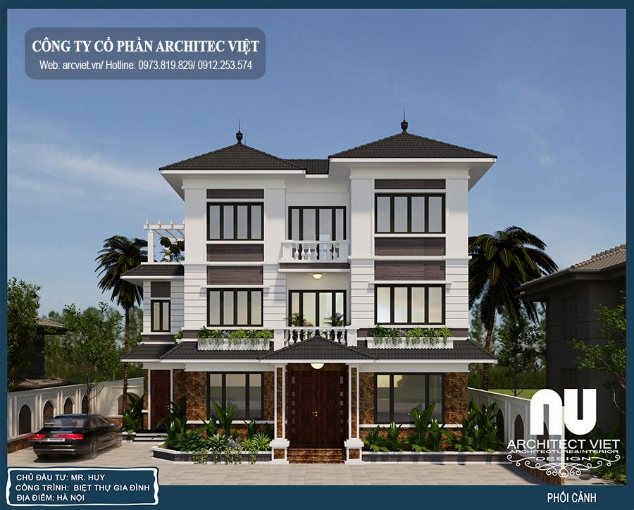 phương án thiết kế biệt thự hiện đại 3 tầng 125m2