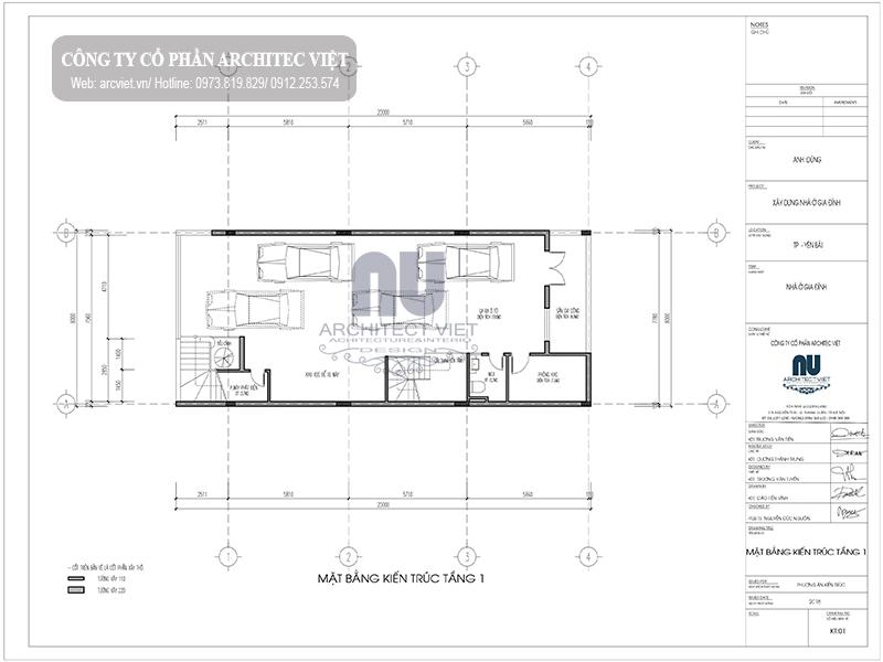 thiết kế tầng 1 nhà phố 4 tầng hiện đại 8x20m