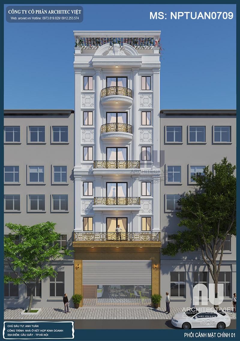 nhà ở kiêm kinh doanh 6 tầng 120m2 đẹp
