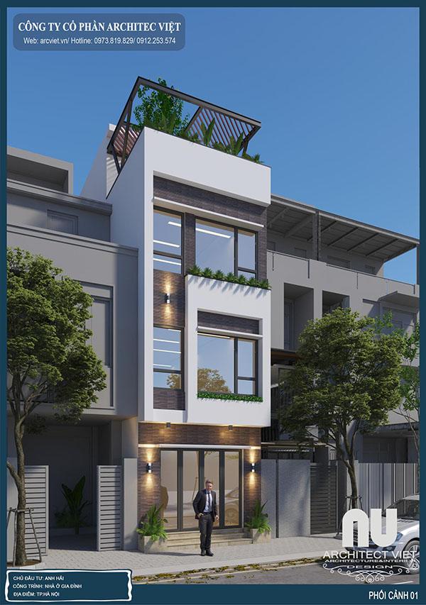 Mẫu nhà phố 3 tầng 40m2 hiện đại