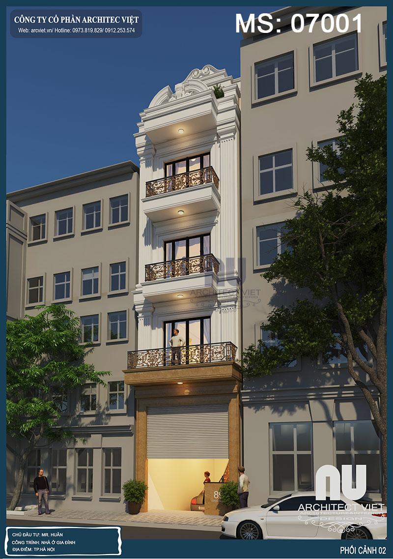 thiết kế ngoại thất nhà phố 4 tầng mặt tiền 4m 50m2 đẹp
