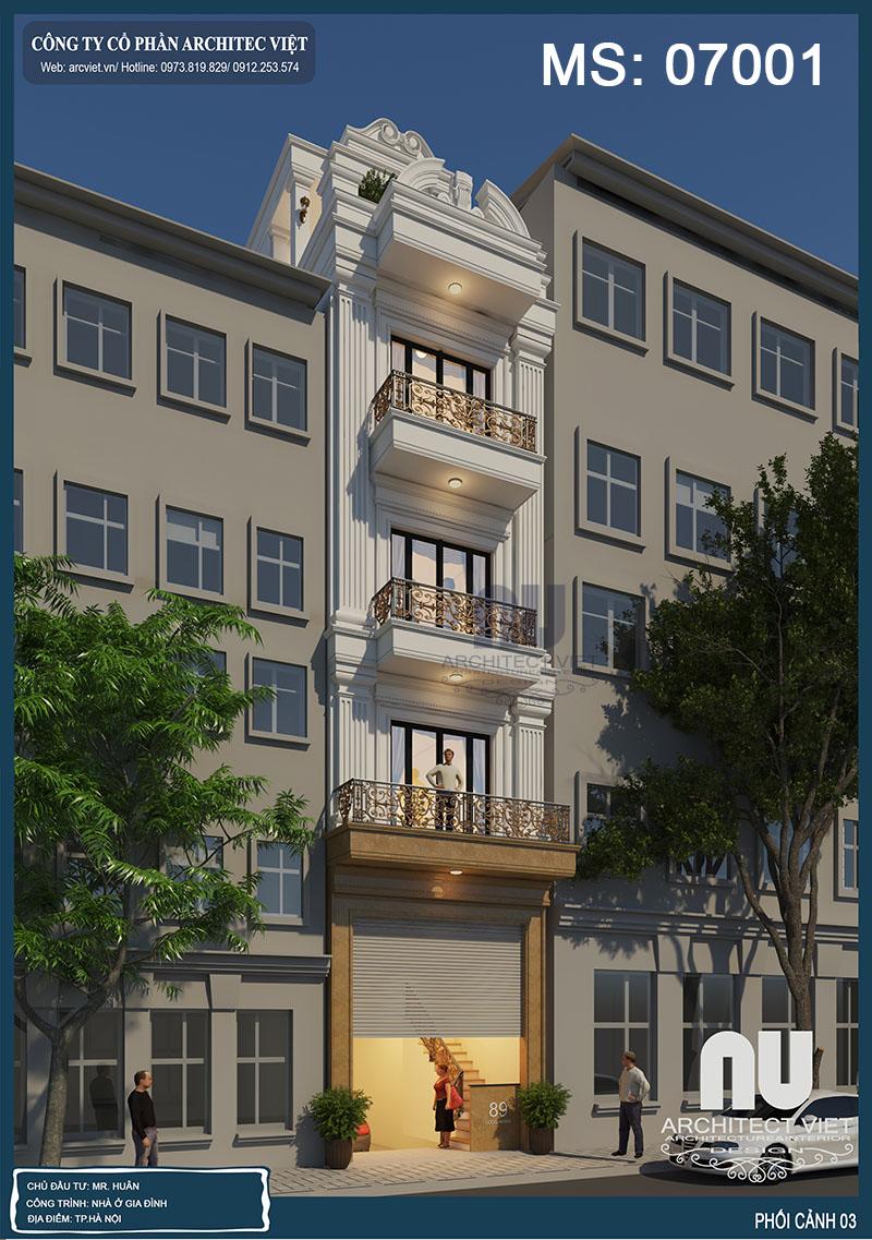 thiết kế nhà phố 4 tầng mặt tiền 4m 50m2 theo phong thủy chủ nhà