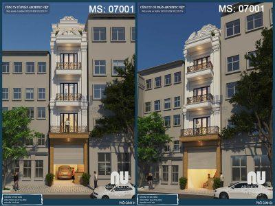 thiết kế nhà phố 4 tầng mặt tiền 4m 50m2 đẹp