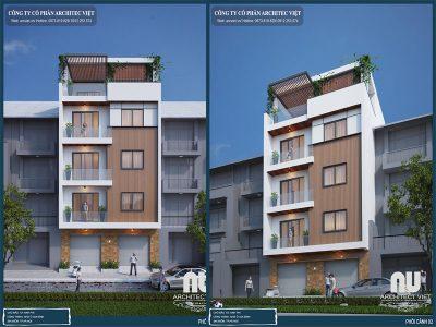 phối cảnh sang trọng của nhà phố 5 tầng 115m2 hiện đại
