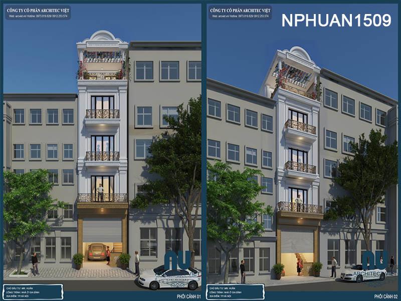 nhà phố 5 tầng 50m2 kết hợp kinh doanh với ngoại thất sang trọng