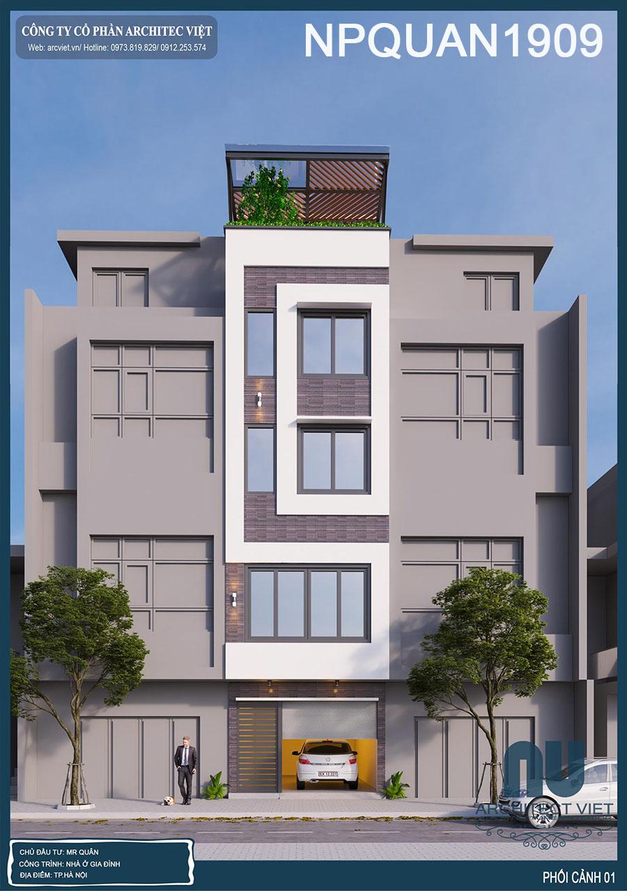thiết kế nhà phố 4 tầng mặt tiền 4m 35m2 sang trọng