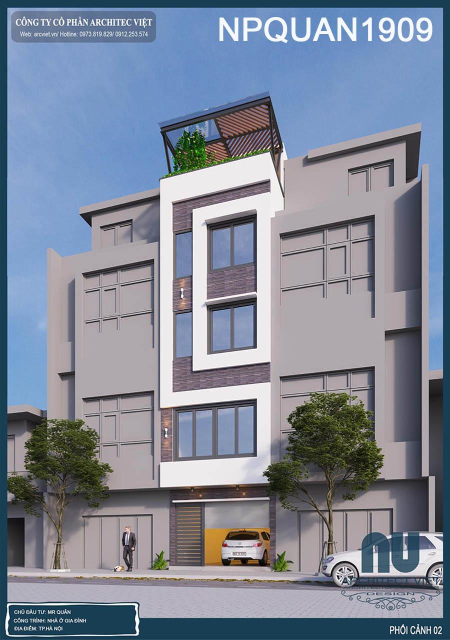 mẫu nhà phố 4 tầng mặt tiền 4m 35m2 với ngoại thất sang trọng