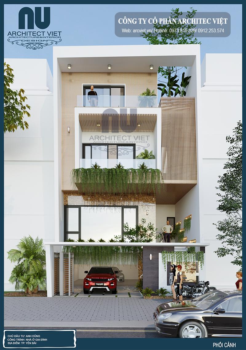 thiết kế nhà phố 4 tầng hiện đại 8x20m sang trọng