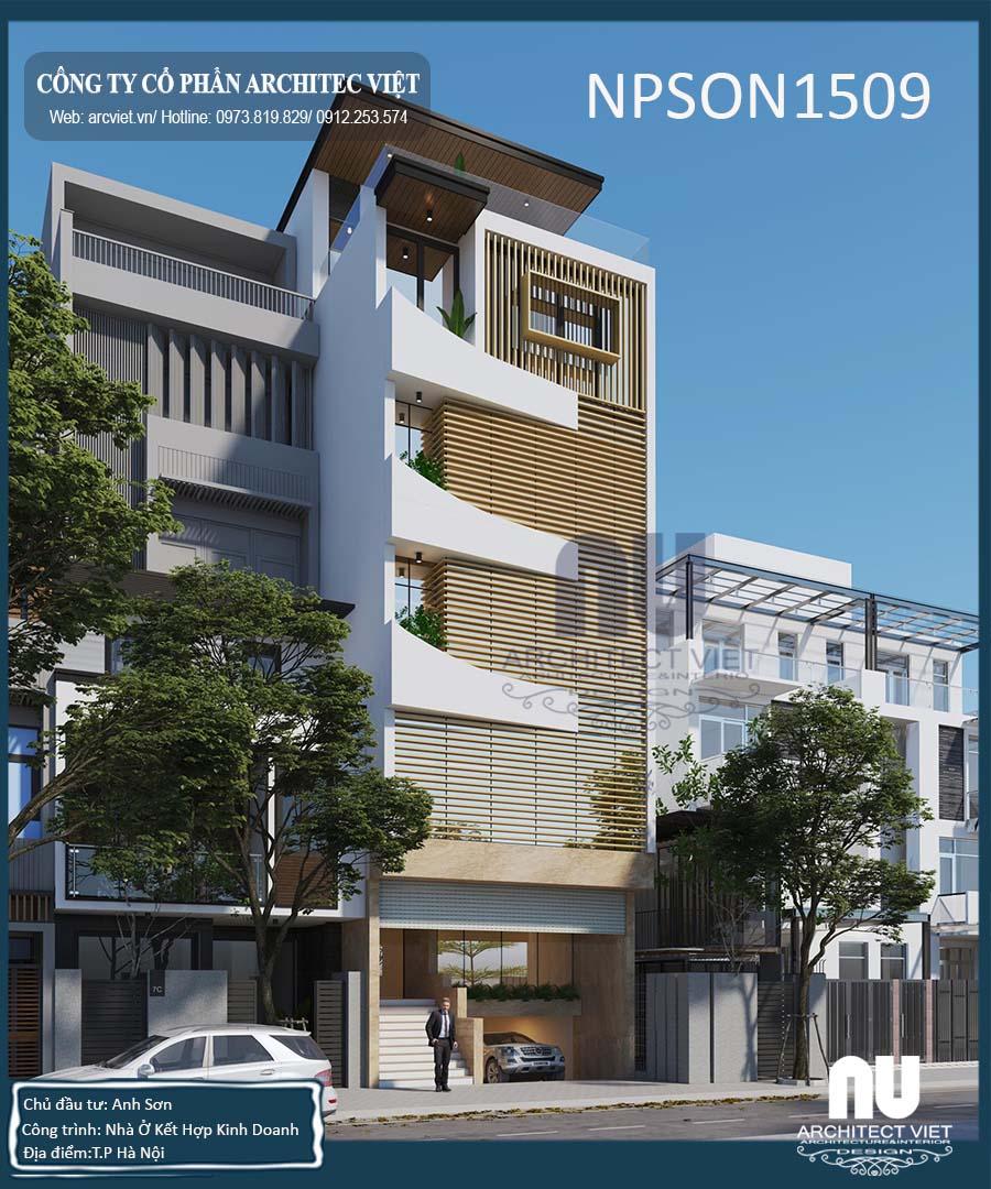 thiết kế nhà ở kết hợp văn phòng 5 tầng 105m2