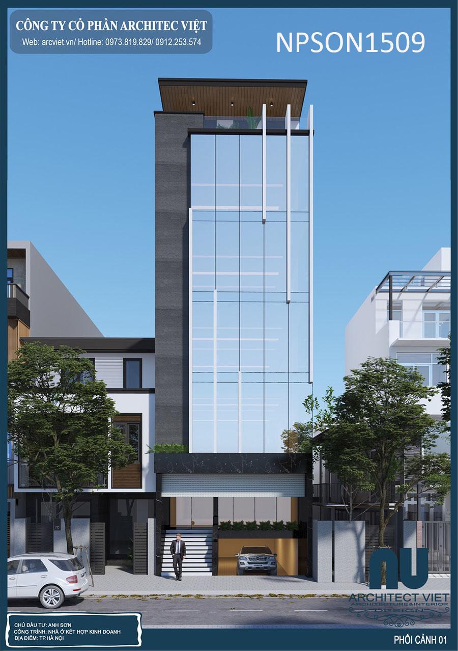 thiết kế nhà ở kết hợp văn phòng 5 tầng 105m2 theo phong thủy