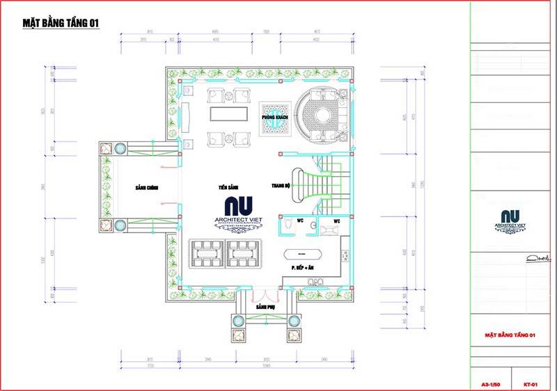 thiết kế tầng 1 biệt thự 3 tầng tân cổ điển 300m2