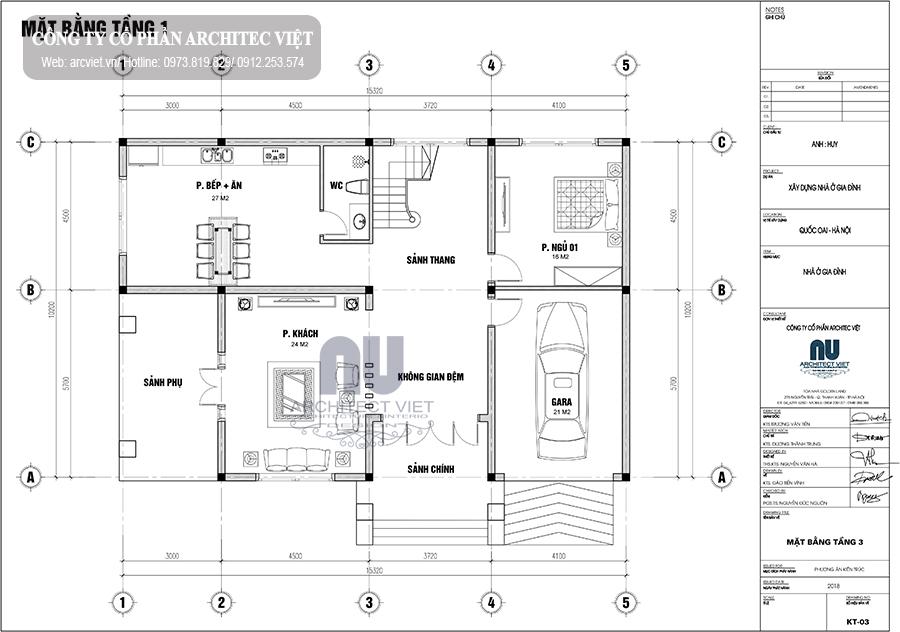 thiết kế tầng 1 biệt thự đẹp 3 tầng mái thái 160m2