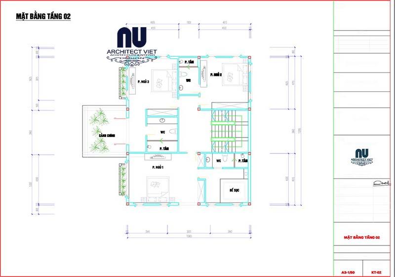 thiết kế tầng 2 biệt thự 3 tầng tân cổ điển 300m2
