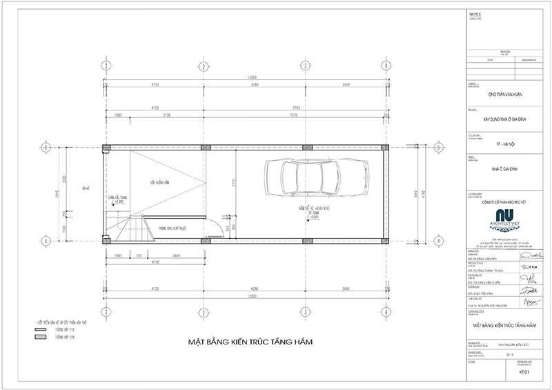 thiết kế tầng hầm nhà phố 4 tầng mặt tiền 4m 50m2