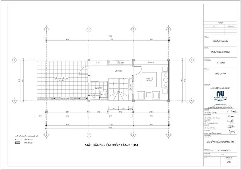 thiết kế tầng tum nhà phố 4 tầng mặt tiền 4m 50m2