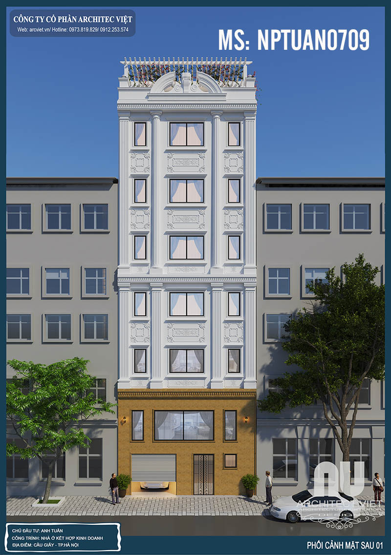 mặt sau mẫu nhà ở kiêm kinh doanh 6 tầng 120m2