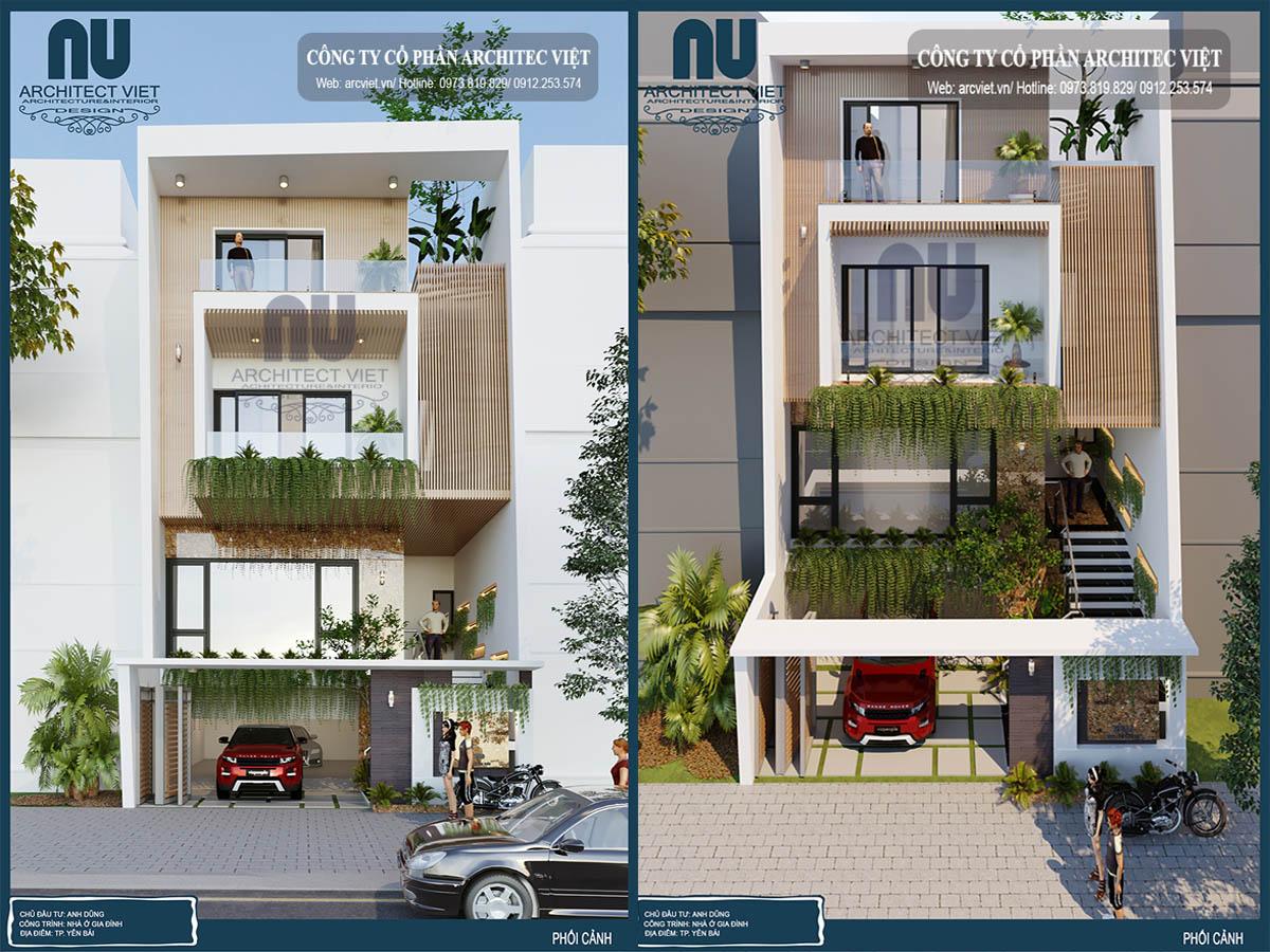 mẫu nhà phố 4 tầng hiện đại 8x20m đẹp