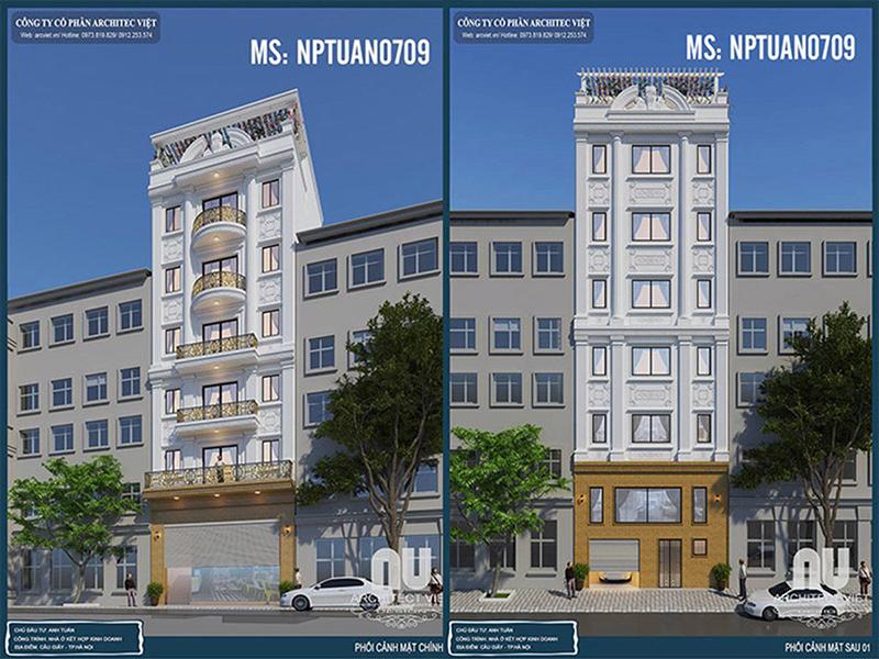 Mẫu thiết kế nhà phố vừa ở vừa kinh doanh của anh Tuấn - Cầu Giấy, HN