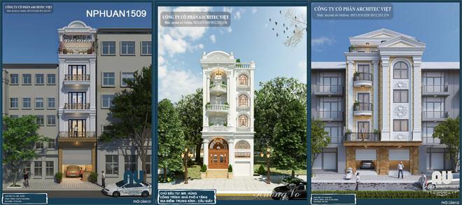 Thiết kế nhà phố 4 tầng kiến trúc hoài cổ