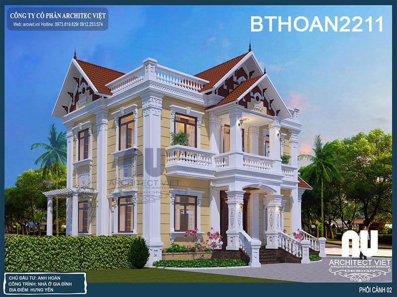 sự kết hợp hài hòa màu sắc của biệt thự 2 tầng phong cách tân cổ điển.