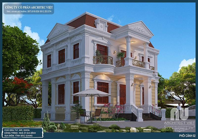 điểm nhấn thu hút cho căn biệt thự tân cổ điển 2 tầng 100m2 của gia đình anh Khoa