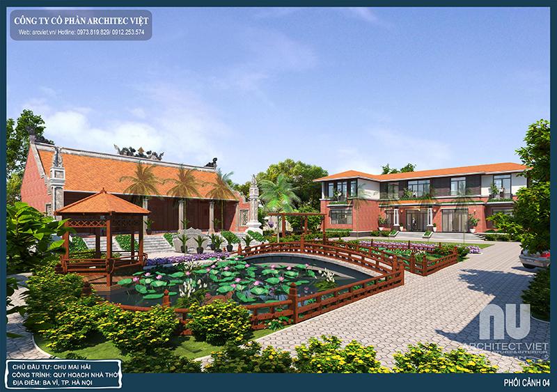 lên phương án thiết kế nhà vườn 2 tầng hiện đại 310m2