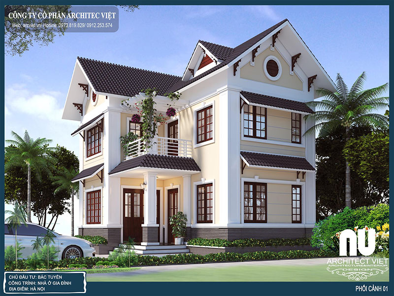 thiết kế nhà 2 tầng chữ L 63m2
