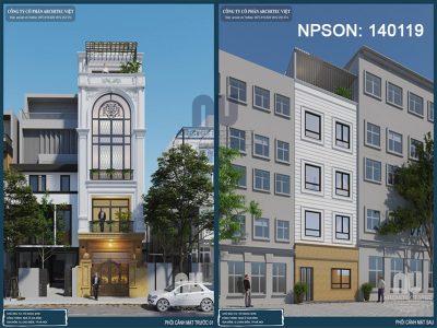 thiết kế nhà phố 4 tầng mặt tiền 5m với ngoại thất sang trọng