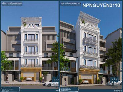 nhà phố 5 tầng 50m2 tân cổ điển với ngoại thất sang trọng