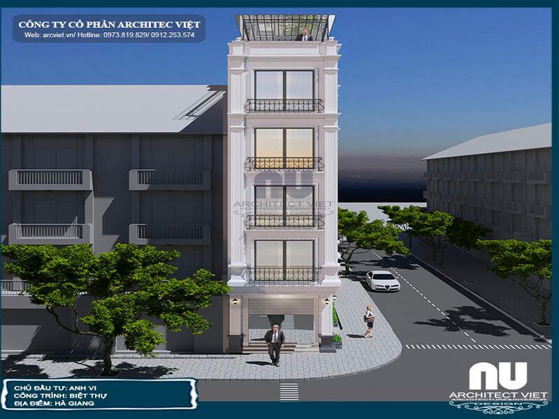 thiết kế nhà phố 5 tầng 70m2 kết hợp kinh doanh