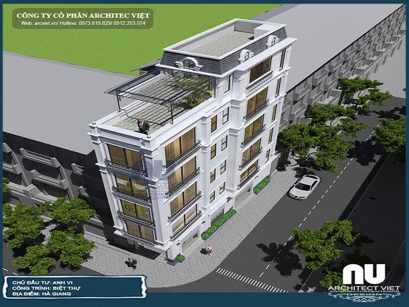 nhà phố 5 tầng 70m2 kết hợp kinh doanh và phối cảnh 3d