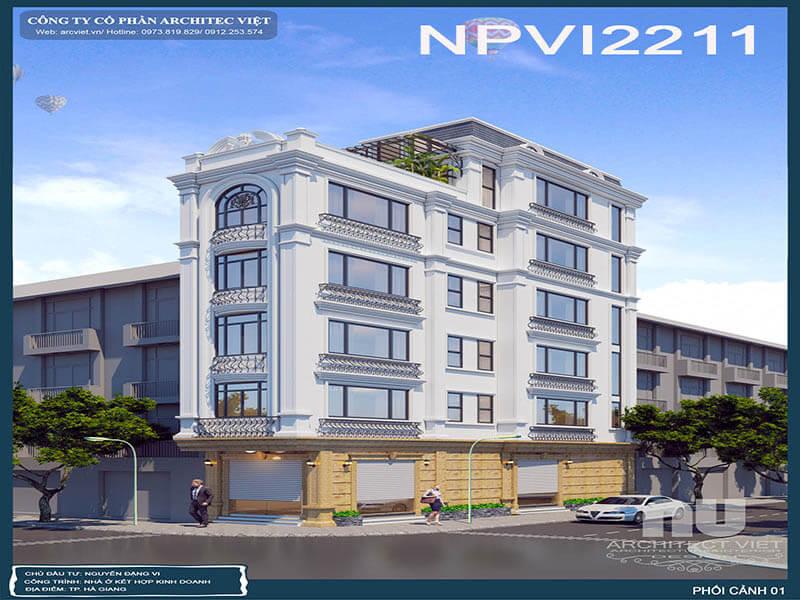 nhà phố 5 tầng 70m2 kết hợp kinh doanh với ngoại thất sang trọng