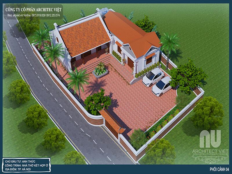 Bản thiết kế phối cảnh của mẫu nhà thờ họ kết hợp nhà ở