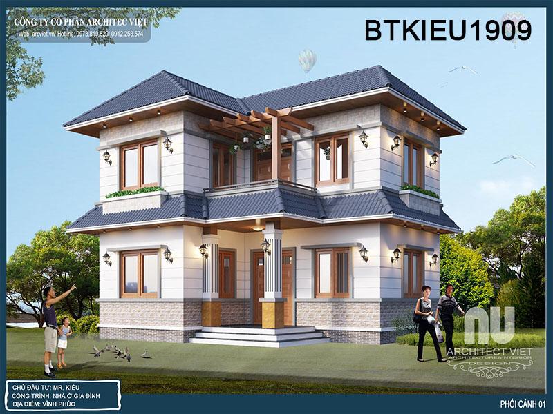 Thiết kế nhà 2 tầng chữ L