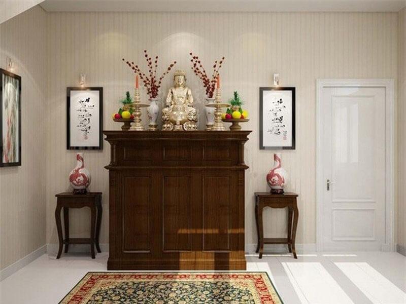 bàn thờ bố trí hợp lý ở nơi yên tĩnh nhất của căn hộ