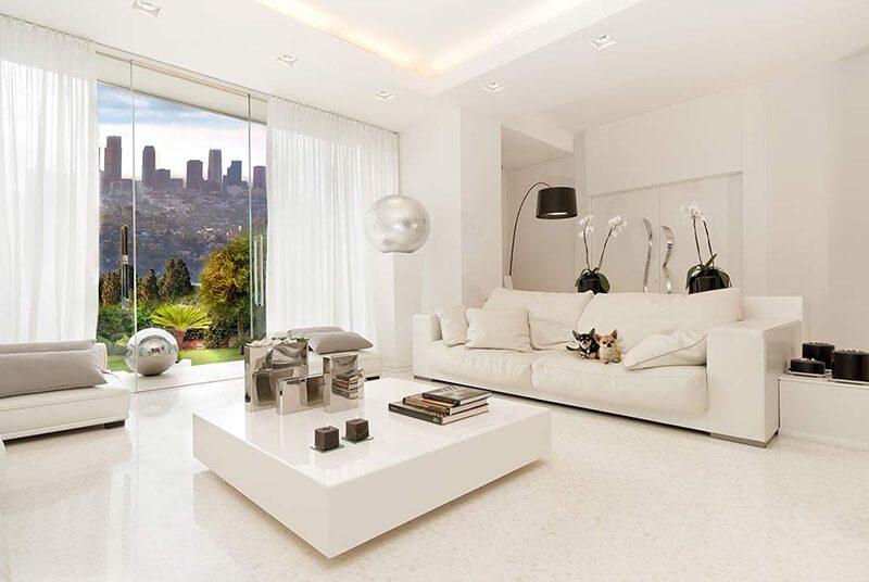 gia chủ mệnh Kim nên chọn màu trắng để trang trí phòng khách
