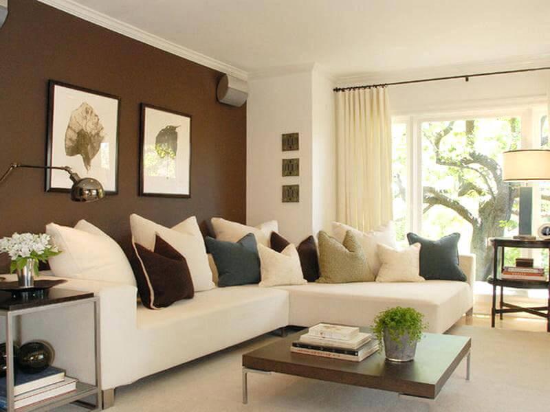 phòng khách màu nâu hợp với gia chủ mệnh Thổ