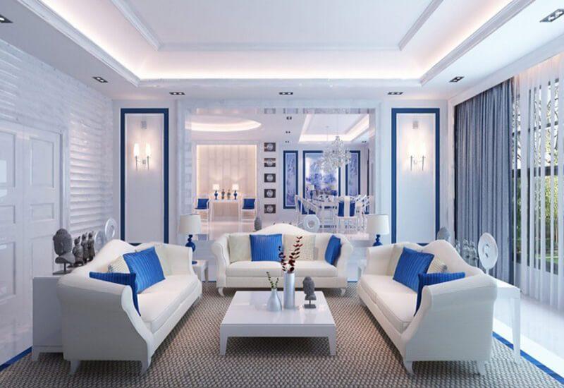 phòng khách trở nên tinh tế thu hút với các gam màu trắng - xanh