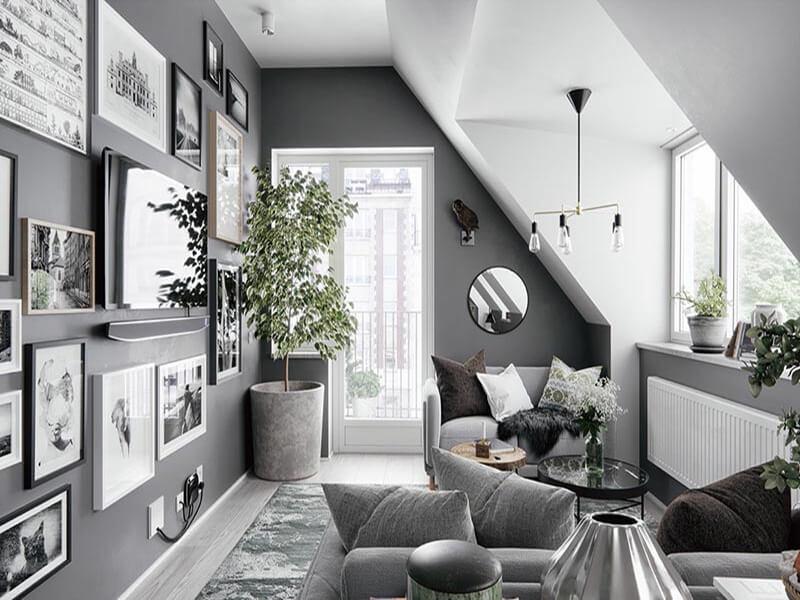 gam màu xám ghi được ưa chuộng trang trí phòng khách hiện đại
