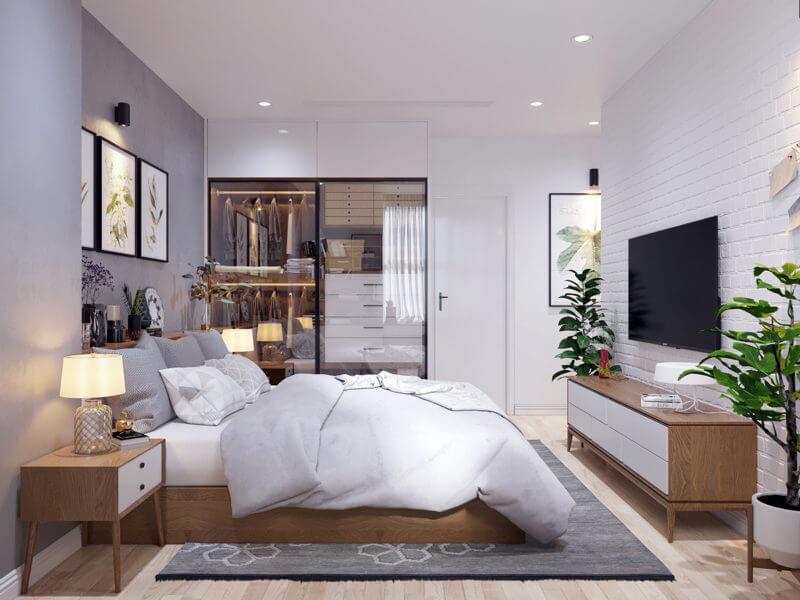 vẻ đẹp hài hòa, sắc trắng tinh khôi của mẫu phòng ngủ Bắc Âu